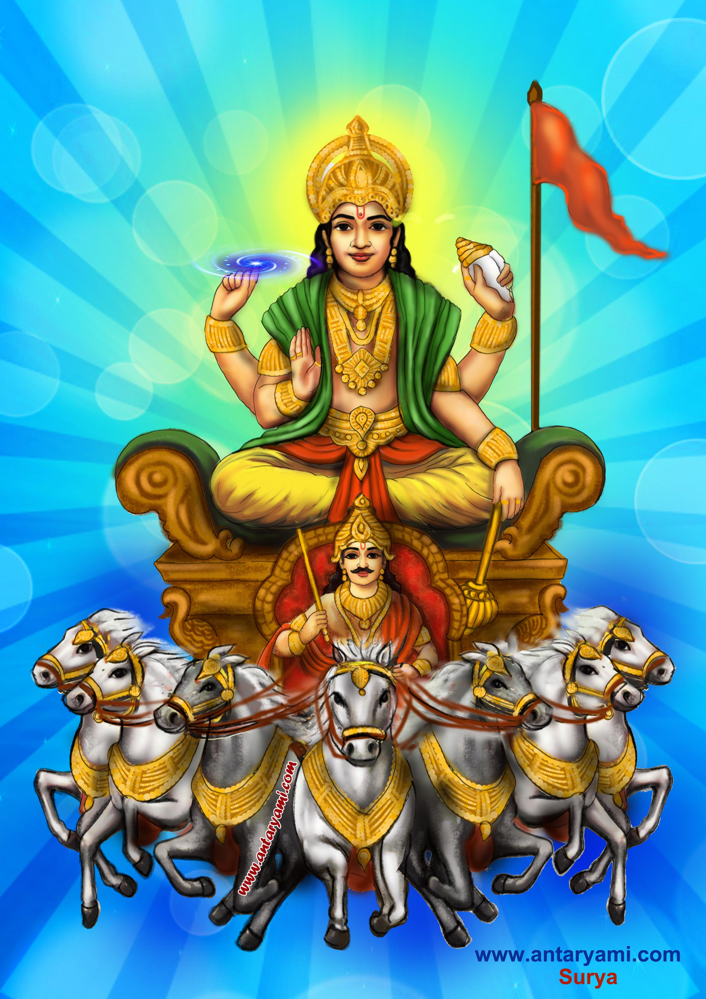 The symbolic meaning of the hindu sun god surya antaryami in hindu religion gods demi gods and asparas all represent an aspect of universal nature which includes human consciousness in the case of the hindu sun dhlflorist Choice Image